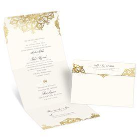 Elegant Wedding Invitations: Gold Mandala Seal and Send Invitation