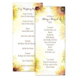 Wedding Programs: Painted Sunflowers Wedding Program