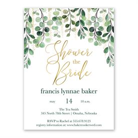 Glam Greens Bridal Shower Invitation