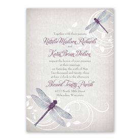 Dragonfly Pair Invitation with Free Response Postcard