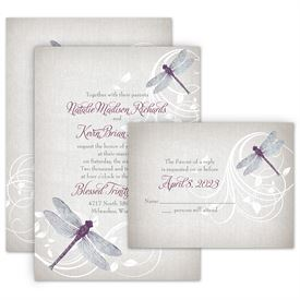 Rustic Wedding Invitations: Dragonfly Pair Invitation with Free Response Postcard