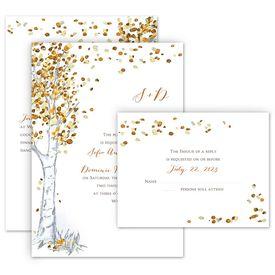 Fall Wedding Invitations: Autumn Birch Invitation with Free Response Postcard