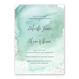 Watercolor Burst - Fern - Invitation with Free Response Postcard