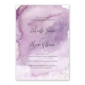 Watercolor Burst - Plum - Invitation with Free Response Postcard