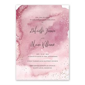 Watercolor Burst - Rosewood - Invitation with Free Response Postcard