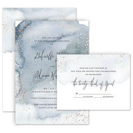 Modern Wedding Invitations: Watercolor Burst Invitation with Free Response Postcard