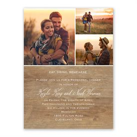 Rustic Photo Rehearsal Dinner Invitation