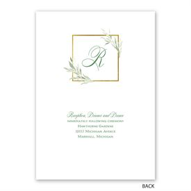 Greens and Gold - Invitation with Free Response Postcard