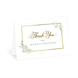 Wedding Thank You Cards: Greens and Gold -Thank You Card