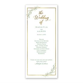 Greens and Gold Wedding Program
