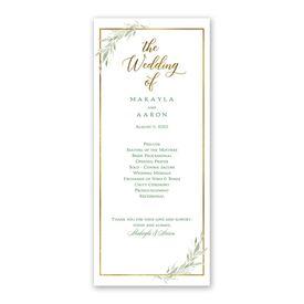 Greens and Gold Wedding Program
