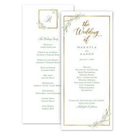 Wedding Programs: Greens and Gold Wedding Program