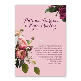 Floral Burst Invitation with Free Response Postcard
