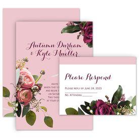 Wedding Invites Free Respond Cards: Floral Burst Invitation with Free Response Postcard