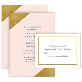 Modern Wedding Invitations: Gold Dipped Invitation with Free Response Postcard