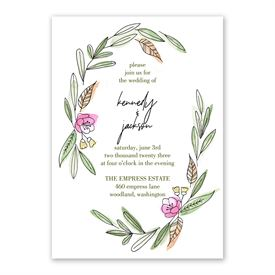 Posy Sketch Invitation with Free Response Postcard