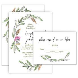 Floral Wedding Invitations: Posy Sketch Invitation with Free Response Postcard