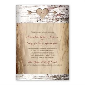 Carved Birch Invitation with Free Response Postcard