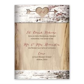 Carved Birch Rehearsal Dinner Invitation