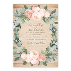 Peach Peony Invitation with Free Response Postcard