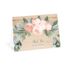 Wedding Thank You Cards: Peach Peony Thank You Card