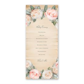 Peach Peony Wedding Program