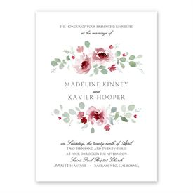 Petite Blooms - Merlot - Invitation with Free Response Postcard