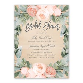 Peach Peony Bridal Shower Invitation