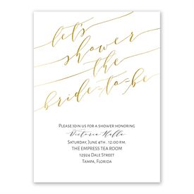 Gold Script Bridal Shower Invitation