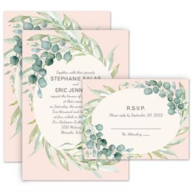 Wedding Invites Free Respond Cards: Framed in Greenery Invitation with Free Response Postcard