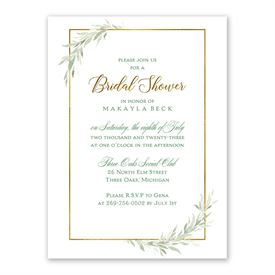 Greens and Gold Bridal Shower Invitation