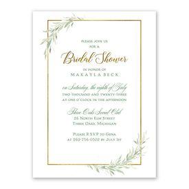 Cheap Bridal Shower Invitations: Greens and Gold Bridal Shower Invitation