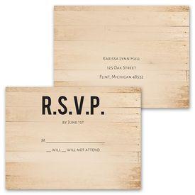 Modern Woodgrain - Invitation with Free Response Postcard