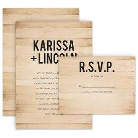 Wedding Invitation Sets: Modern Woodgrain Invitation with Free Response Postcard