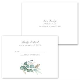 Natural Greens - Invitation with Free Response Postcard