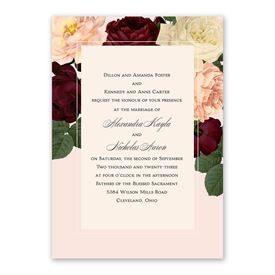 Vintage Blooms Invitation with Free Response Postcard