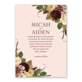 Budding Floral - Powder - Invitation with Free Response Postcard