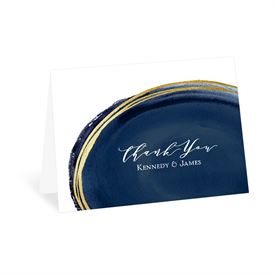 Gilded Watercolor - Navy - Thank You Card
