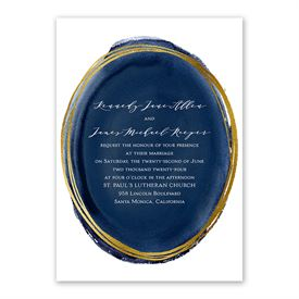Gilded Watercolor - Navy - Invitation with Free Response Postcard