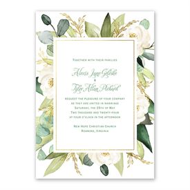 Gold Greenery Invitation with Free Response Postcard