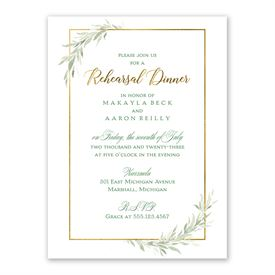 Greens and Gold Rehearsal Dinner Invitation
