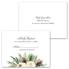 Floral and Pine - Invitation with Free Response Postcard