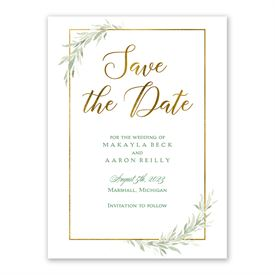 Save the Dates: Greens and Gold Save the Date