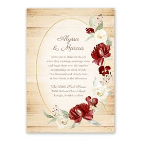 Framed in Floral Brick Invitation with Free Response Postcard