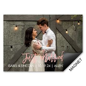 Just Wed Wedding Announcement Magnet