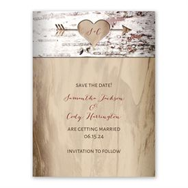 Save the Dates: Carved Birch Save the Date