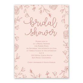 Floral Outlines Bridal Shower Invitation