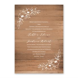 Woodgrain Blooms Invitation with Free Response Postcard