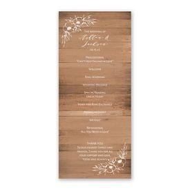 Woodgrain Blooms Wedding Program