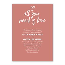 All You Need is Love Invitation with Free Response Postcard